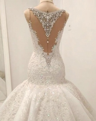 Straps Sweetheart Crystal Mermaid Wedding Dresses with Lace Appliques_3