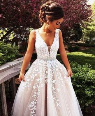 Sleeveless Chic Lace-Applique  Crystal Sashes A-Line V-Neck Prom Dresses_3