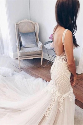 V-Neck Sexy Mermaid Wedding Dresses | Sleeveless Open Back Bridal Gowns  with Buttons_3