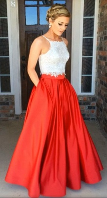 Glamorous Two-Piece Prom Dresses White Red A-line Evening Gowns_5