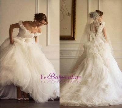Tulle Sweep Train Ruffles A-line Modern Off-the-shoulder Flowers Wedding Dress_1