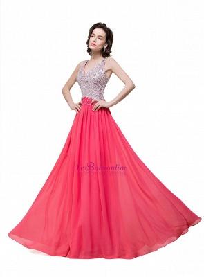 V-Neck A-Line Open-Back Modest Sleeveless Crystal Prom Dress_1