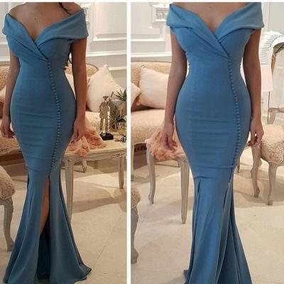 Sexy V-Neck Mermaid Prom Dresses | Side Slit Sleeveless Evening Dresses_3