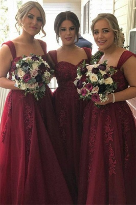 Burgundy Straps Tulle summer Lace-Appliques Sweetheart Bridesmaid Dress_2