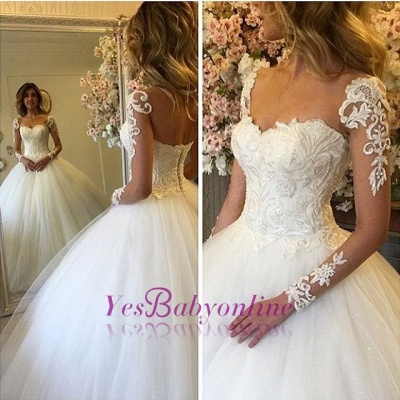 Lace-up Charming Lace Ball-Gown Long Sleevess Wedding Dress_1