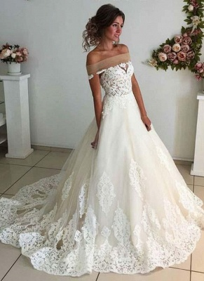 Sparkly A-line Lace Appliques Wedding Dresses | Off-the-shoulder Tulle Bridal Gowns_1