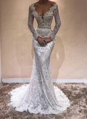 Sexy V-Neck Lace Prom Dresses   Long Sleeves Beading Evening Gowns_1