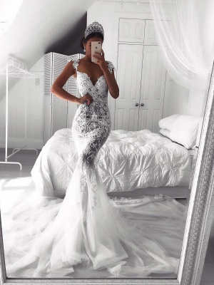 Sexy Lace Mermaid Wedding Dresses | See-Through Cap Sleeves Bridal Gowns_1