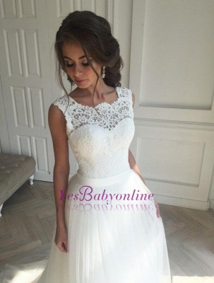 Open-Back Sash Sleeveless Lace Simple A-line Wedding Dresses_1