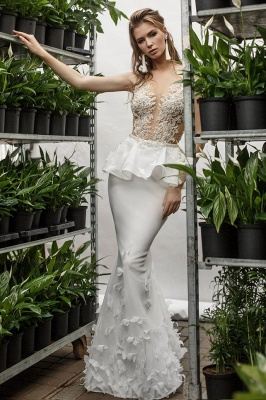 Sexy Mermaid Lace Appliques Deep-V-Neck Sleeveless Wedding Dress_1