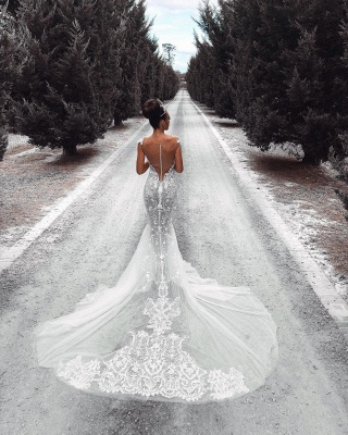Sexy Lace Mermaid Wedding Dresses | See-Through Cap Sleeves Bridal Gowns_5