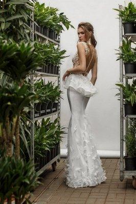 Sexy Mermaid Lace Appliques Deep-V-Neck Sleeveless Wedding Dress_3