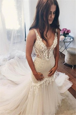 V-Neck Sexy Mermaid Wedding Dresses | Sleeveless Open Back Bridal Gowns  with Buttons_1