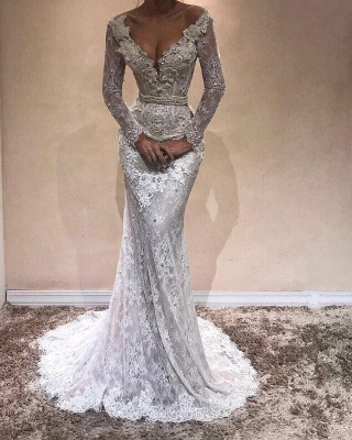 Sexy V-Neck Lace Prom Dresses   Long Sleeves Beading Evening Gowns_3