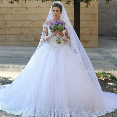 Lace Princess Ball Gown Tulle Beadings Appliques Long Sleevess Glamorous Wedding Dresses_3