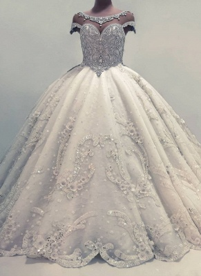 Sparkly Ball Gown Wedding Dresses | Shiny Crystals Bridal Gowns  with Flowers_1