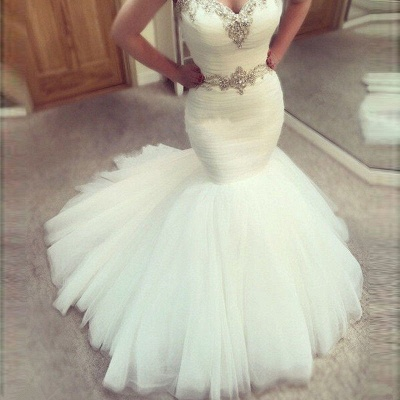 Sexy V Neck Off The Shoulder Sash Beading Fitted Mermaid Wedding Dresses_2