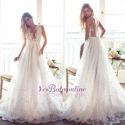 Sleeveless V-Neck Appliques Lace Glamorous A-Line Princess Wedding Dress_1