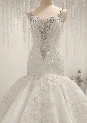 Straps Sweetheart Crystal Mermaid Wedding Dresses with Lace Appliques_1