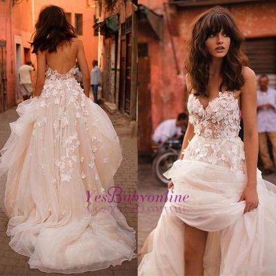 Glitter A-line Wedding Dress 3D-Floral Appliques Champagne Bridal Gowns_1