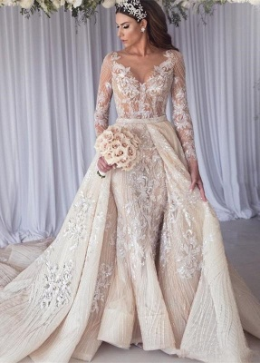 Elegant Jewel Long Sleeve Applique Crystal  Sequin Sheath Wedding Dresses With Detachable Skirt_3