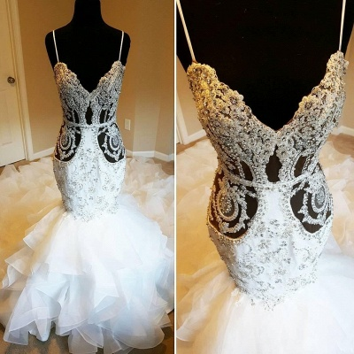 Luxury Spaghetti Strap Crystal Fit And Flare Ruffles Mermaid Wedding Dresses_2