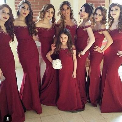 Crystal Off-the-Shoulder Side-Slit Mermaid Simple Bridesmaid Dress_4