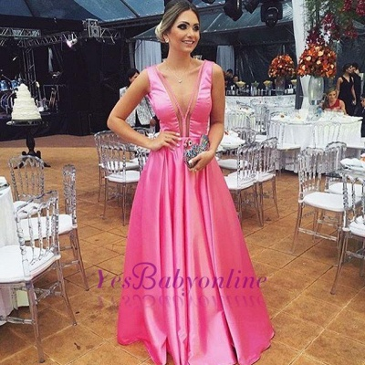 Glossy Fuchsia A-line Prom Dresses Sleeveless V-neck Evening Gowns_1