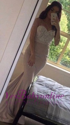 Beading Pearls Lace Sweetheart-Neck Pink Mermaid Prom Dresses_1