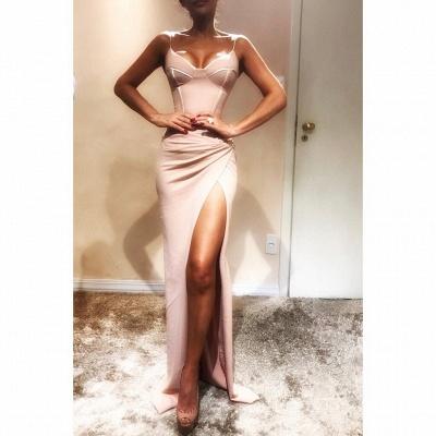 Sexy Spaghetti-Strap Mermaid Prom Dresses | Sleeveless Side Slit Evening Gowns_3