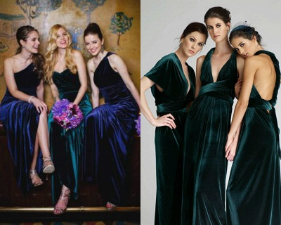 Elegant Long Mermaid Velvet Turquoise Bridesmaid Dresses_4