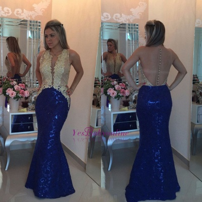 Mermaid Gold-Appliques Buttons Sequins Sleeveless Prom Dress_1
