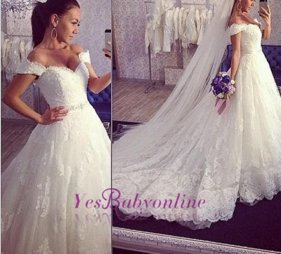 Tulle Ball-Gown Off-the-shoulder Lace ExquisiteTrain Wedding Dress_1