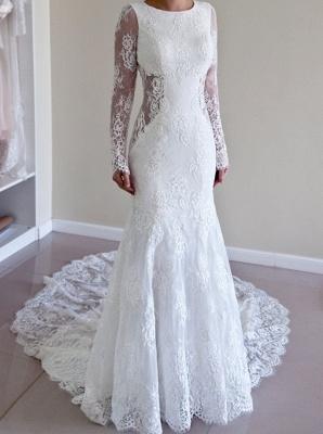 Glamorous Long Sleeves Backless Lace Sweep-Train Mermaid Wedding Dresses_2