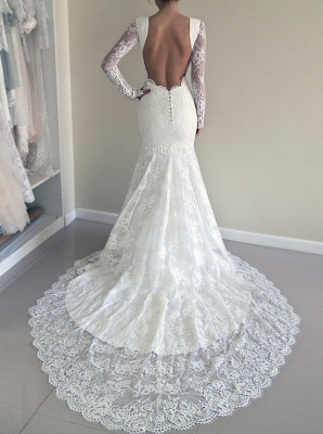 Glamorous Long Sleeves Backless Lace Sweep-Train Mermaid Wedding Dresses_4