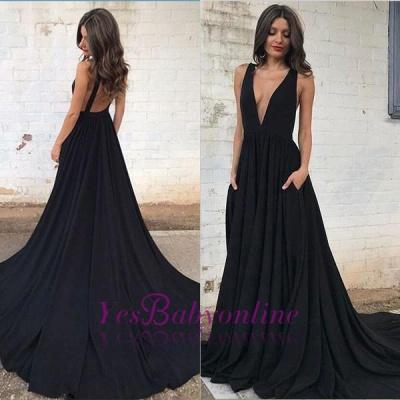 Black V-neck Sleeveless Straps Sexy Backless A-line Prom Dress_1
