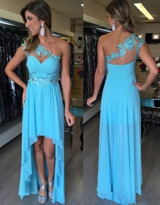 Applique One-Shoulder  Sleeveless Empire Hi-Lo Prom Dresses_2