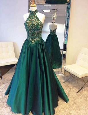 Halter Neck Green Prom Dresses Floor Length Beadings Lace A-Line Evening Gowns_2