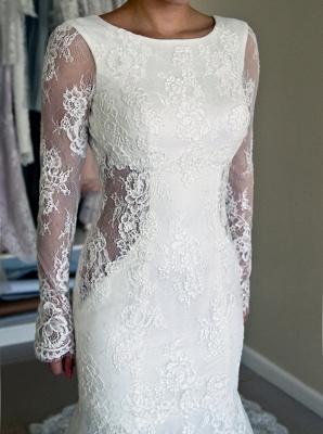 Glamorous Long Sleeves Backless Lace Sweep-Train Mermaid Wedding Dresses_3