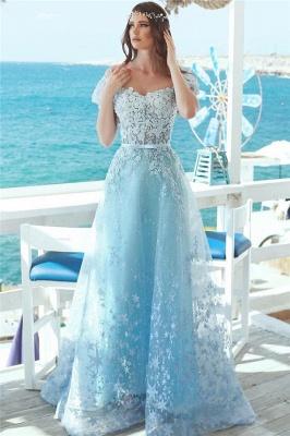 Off The Shoulder Lace Appliques Prom Dresses | Baby Blue Cheap Long Evening Dresses 2019_1