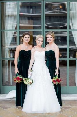 Elegant Long Mermaid Velvet Turquoise Bridesmaid Dresses_2