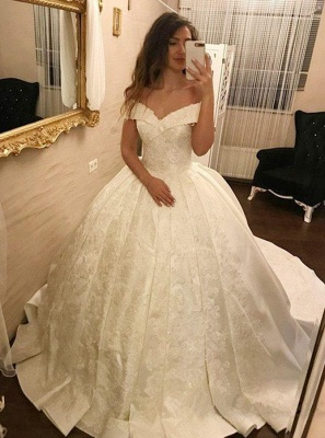 Sparkly Lace Ball Gown Wedding Dresses   Off-the-shoulder Ivory Bridal Gowns_1