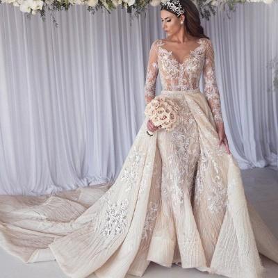 Elegant Jewel Long Sleeve Applique Crystal  Sequin Sheath Wedding Dresses With Detachable Skirt_2