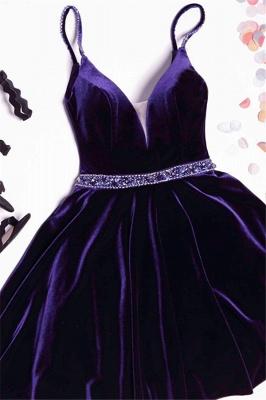 Sexy Purple Homecoming Dresses Spaghettis Straps Beaded Velvet Cocktail Dress_1