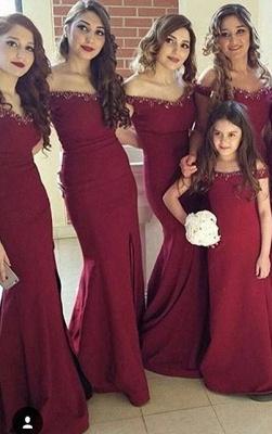 Crystal Off-the-Shoulder Side-Slit Mermaid Simple Bridesmaid Dress_3
