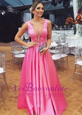 Glossy Fuchsia A-line Prom Dresses Sleeveless V-neck Evening Gowns_2