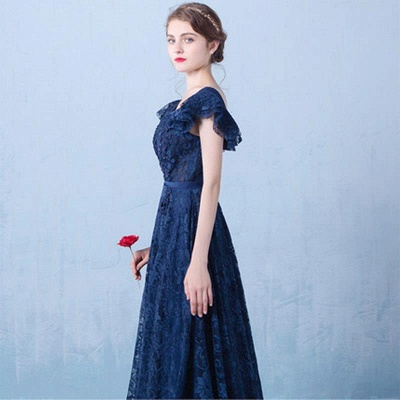 Elegant Dark Navy Prom Dresses Lace Beading V-Neck Ruffles Sleeves A-line Evening Gowns_3