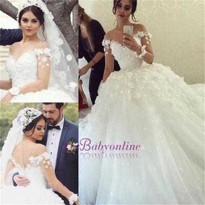 Ball-Gown Appliques Long Sleevess Stunning Wedding Dress_1