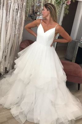 Spaghetti Strap V Neck Backless Tiered Tulle A Line Wedding Dresses_1