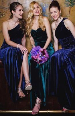 Elegant Long Mermaid Velvet Turquoise Bridesmaid Dresses_3